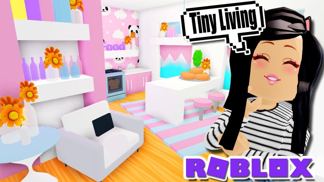 My Tiny Living Home Tour Build In Adopt Me Roblox Pink Kawaii