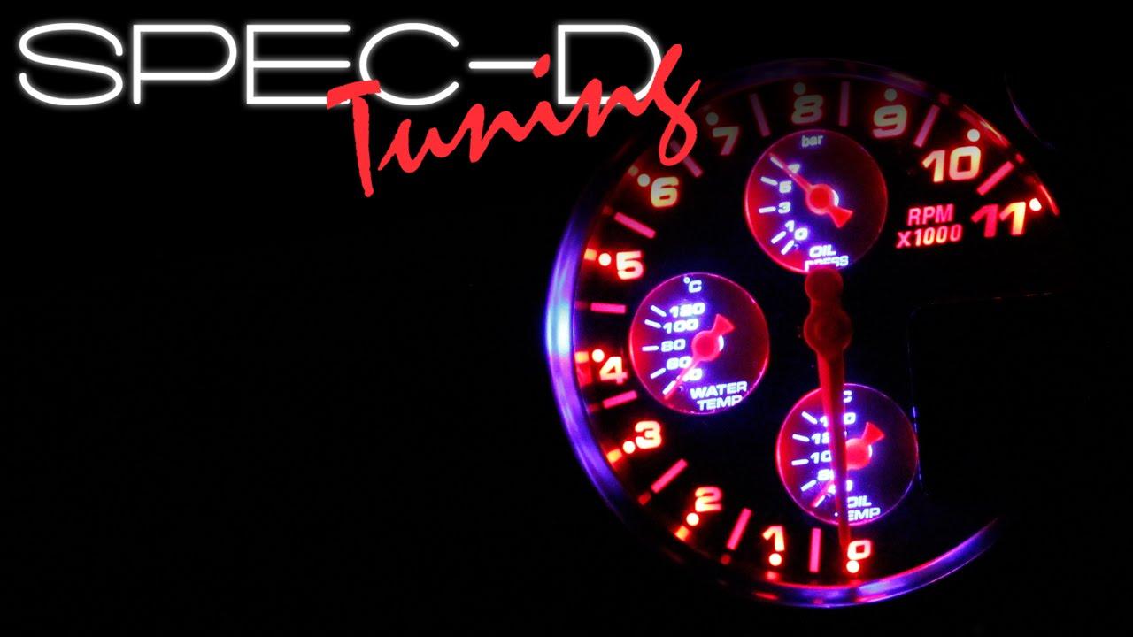 Specdtuning Demo Video  5 U0026quot  4 In 1 Rpm Tachometer Oil Water Pressure Temperature Shift Light