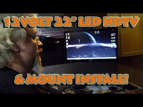"22"" Supersonic 12v LED HDTV Monitor Bedroom Install With Review Of Cheetah Mount In Camper Van RV"