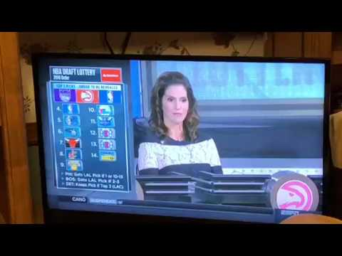 "Jamie Gertz From ""Less Than Zero"" Reps Atlanta Hawks At NBA Draft Lottery"