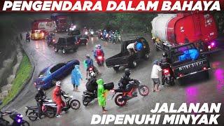 Download JALANAN DIPENUHI MINYAK !!! Para Pengendara Terjebak Dalam Bahaya Besar di Sitinjau Lauik
