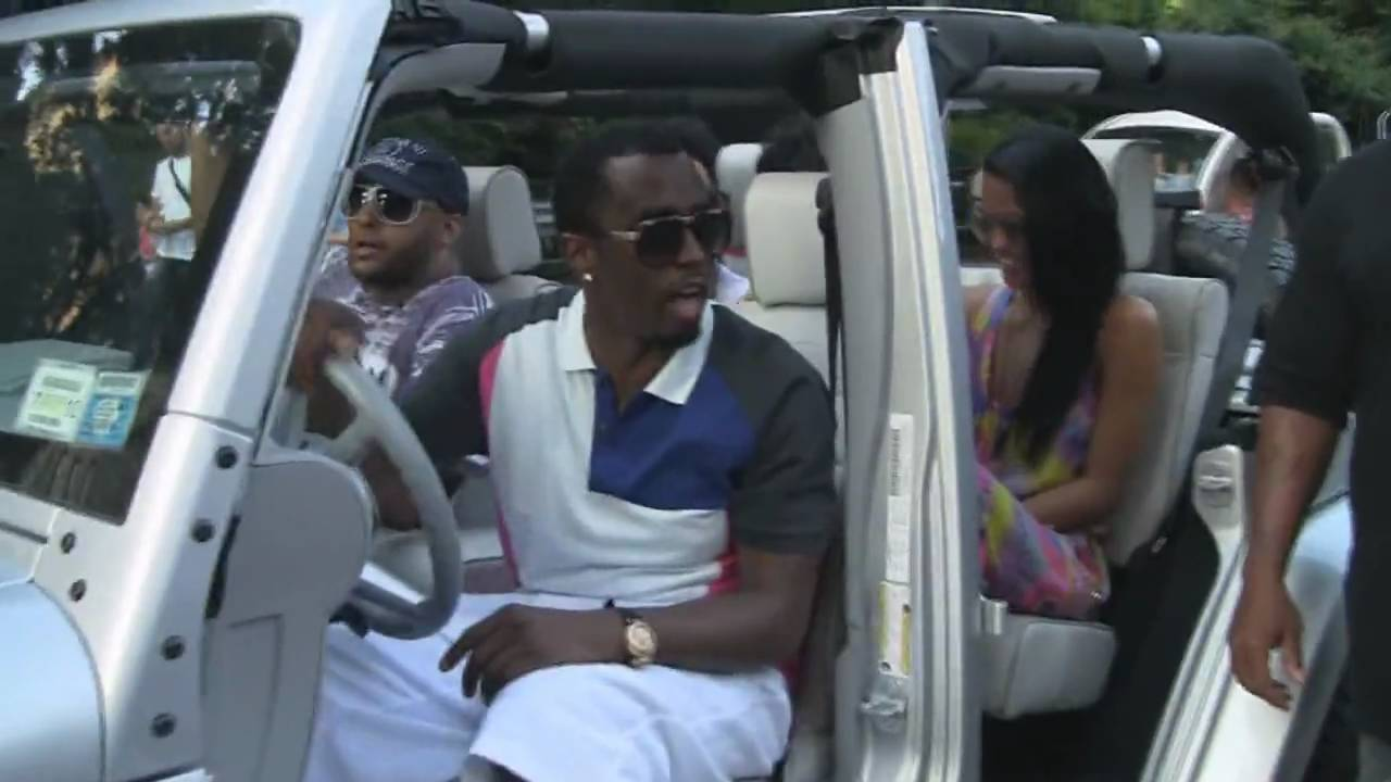 sean john combs p diddy in central park, new york with entourage
