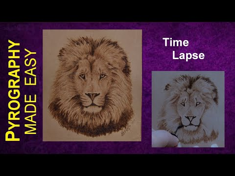 Pyrography Fine Art Lion on Leather wood burning time lapse