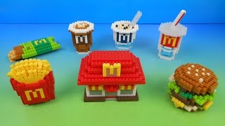 2015 McDONALD'S FOOD ICONS NANOBLOCK SET OF 7 HAPPY MEAL KIDS TOYS VIDEO REVIEW