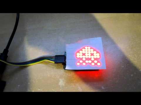 Arduino MAX7219 LED Matrix Demonstration (Space Invader)