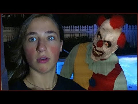 Thumbnail: Scary Killer Clown Stalks Us at Night at Our Pool Recording Videos - CREEPY!