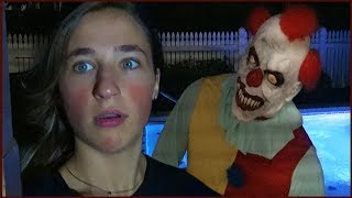Scary Killer Clown Stalks Us at Night at Our Pool Recording Videos - CREEPY!