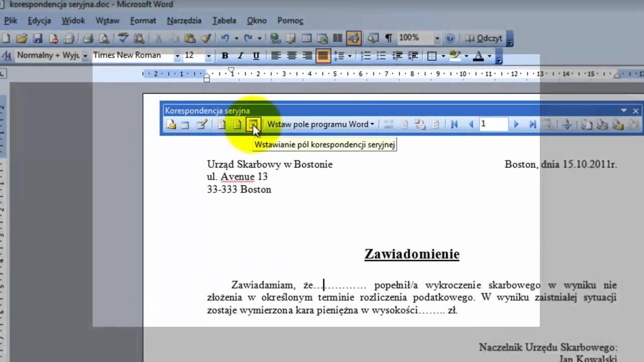 Korespondencja Seryjna Microsoft Office Word 2003mp4 Youtube