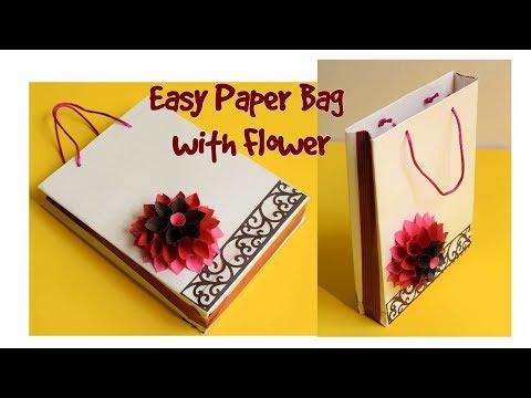 How to make Easy Paper Bag/ DIY Paper Flower/ Handmade Gift Bag