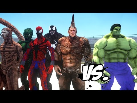 HULK VS SPIDER-MAN ENEMIES - VENOM, SCORPION, CARNAGE, RHINO, GREEN GOBLIN VS HULK