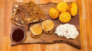 Ribs, Mashed Potatoes, Cornbread & Ribs Sliders