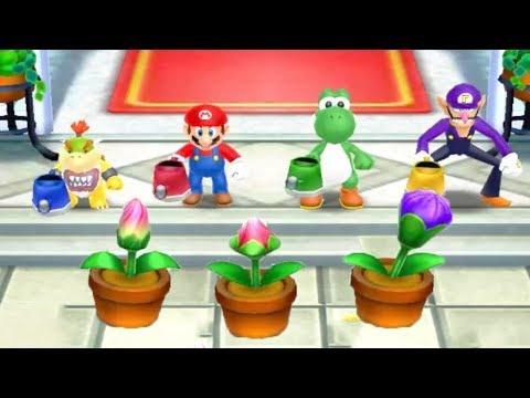Mario Party Island Tour - Bowser Vs Mario Yoshi Waluigi All Battles Minigame (Master Cpu)