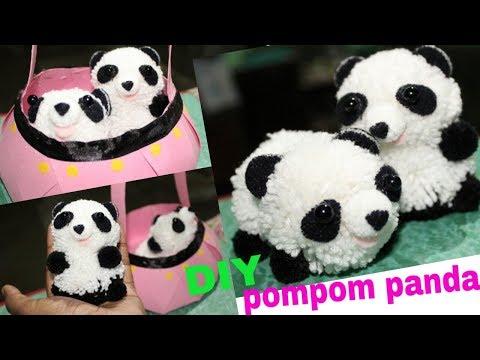 DIY pompom panda    Creative ideas    perfect handmade gift