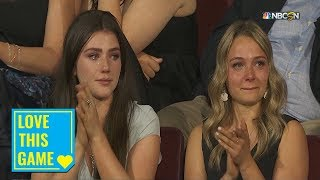 Maddison Krebs tears up after brother Peyton's selection in 2019 NHL Draft