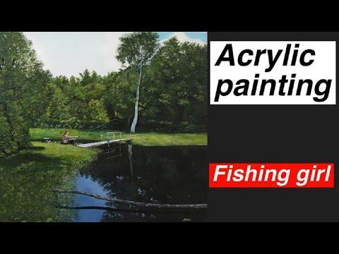 Acrylic Landscape Painting – Fishing Girl