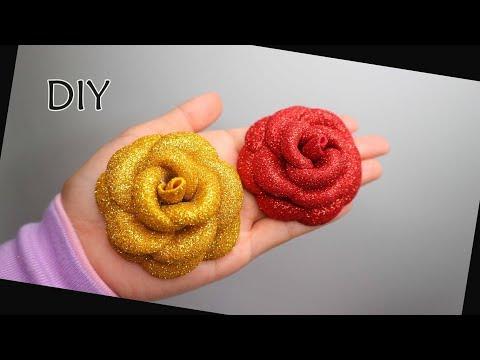 DIY - Easy Glitter Foam Sheet Flower  Roses   Foamiran rose   Eva foam   Mawar Spon gliter