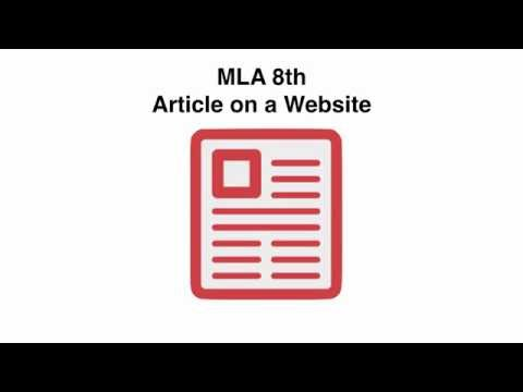 MLA 8 Citing an Article on a Website
