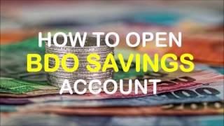 How to Open BDO Savings Account