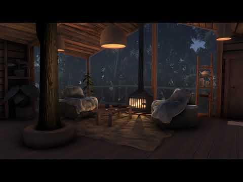 Rain & Fireplace sounds | Cozy Treehouse  | Sleep, Study, Meditation | 10 hours