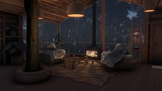 Rain & Fireplace sounds   Cozy Treehouse    Sleep, Study, Meditation   10 hours