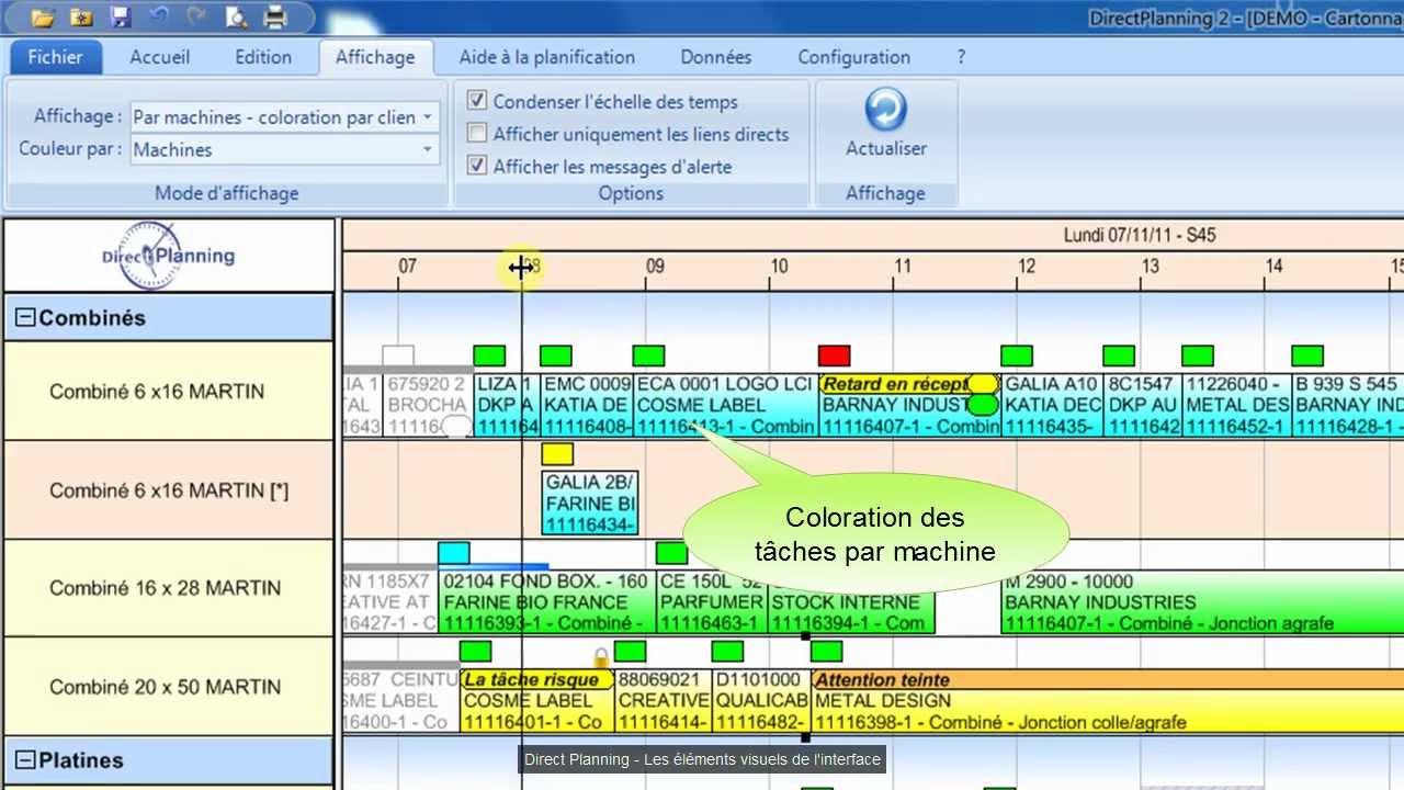 Direct planning industrie tutoriel 1 l ments visuels for Logiciel plannification