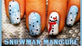 Зимен маникюр със снежен човек - Видео Урок