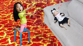 floor is lava challenge in house with baby - LittleJoy