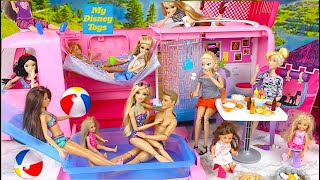 New Barbie Doll Camper Car with Pool Water Slide Barbie Camping Morning Routine From USA