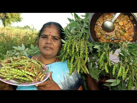 Fresh Organic  Pigeon Peas Recipe | Thuvarai Kottai Kulambu | VILLAGE FOOD