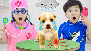 Sammy and Annie Pretend Play Taking Care of Cute Puppy Dog | Kids Video about Funny Pets
