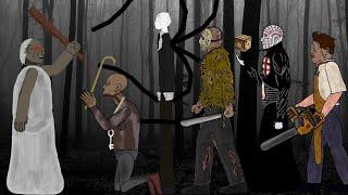 GRANNY vs GRANDPA vs SLENDER MAN vs Pinhead vs Jason Voorhees vs Leatherface - Drawing cartoons 2