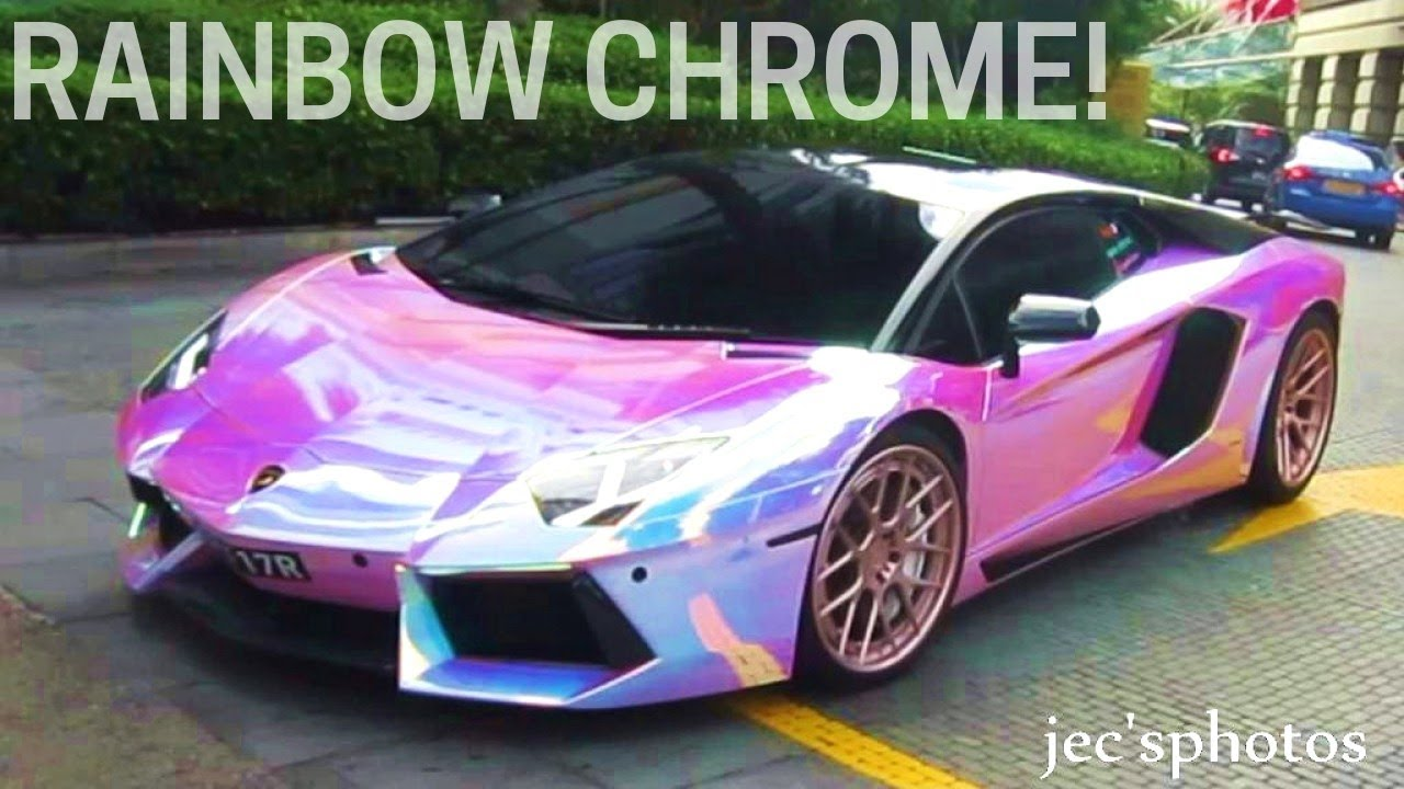 Rainbow Chrome Lamborghini Aventador W Powercraft Exhaust Loud