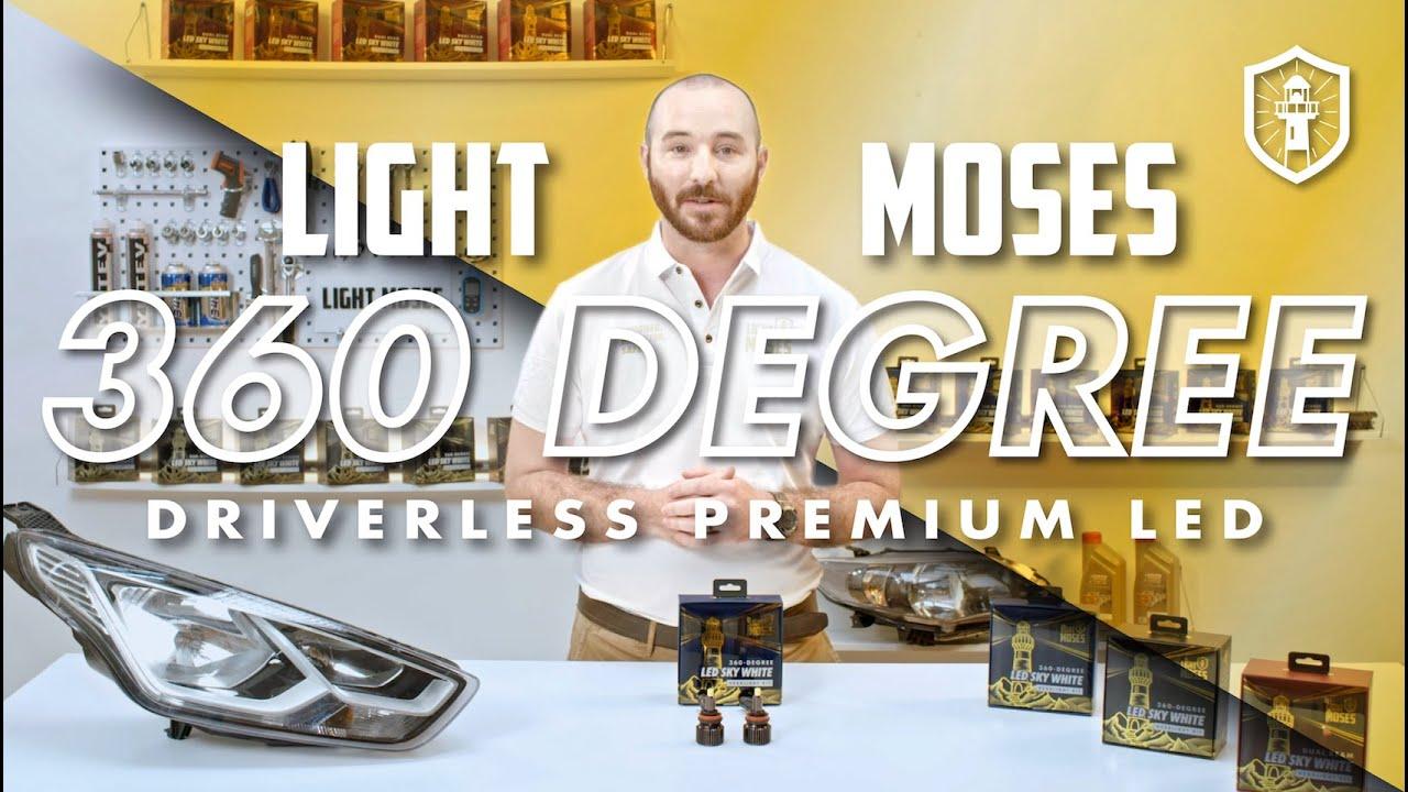 2 Yr Warranty Light Moses 9005//HB3,360 Degree LED Headlight Bulbs Conversion Kit 8,000LM 6,000K Sky White with 50,000 Hour Lifespan