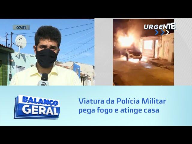 Viatura da Polícia Militar pega fogo e atinge casa no Virgem dos Pobres