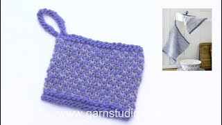 How to knit broken moss stitch and the loop in DROPS 189-18