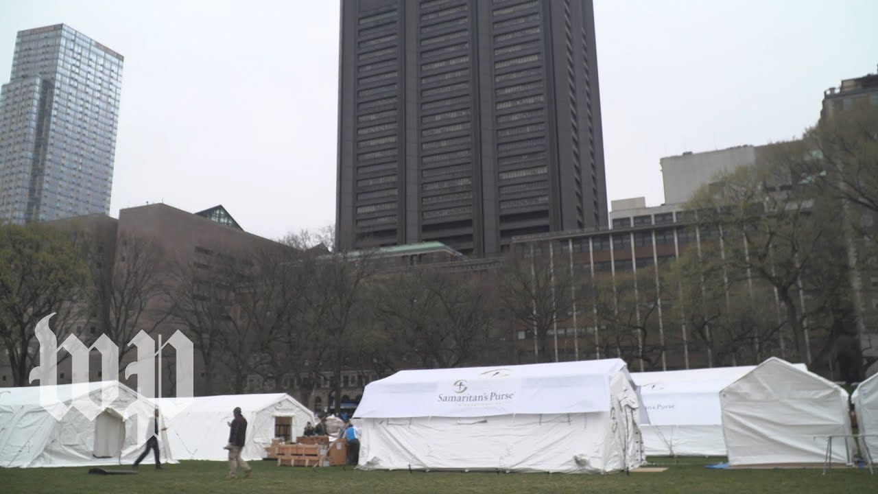 As coronavirus overwhelms New York, a makeshift hospital is built in Central Park