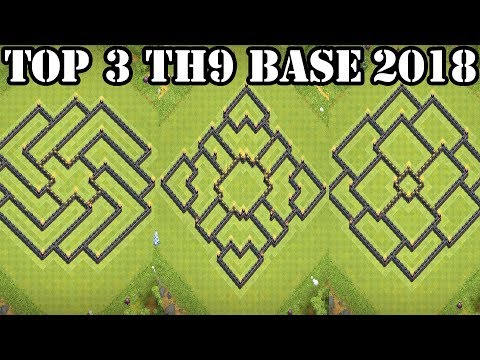 Top 3 Clash Of Clans TH9 Base CoC Town Hall 9 War & Hybrid Base 2018