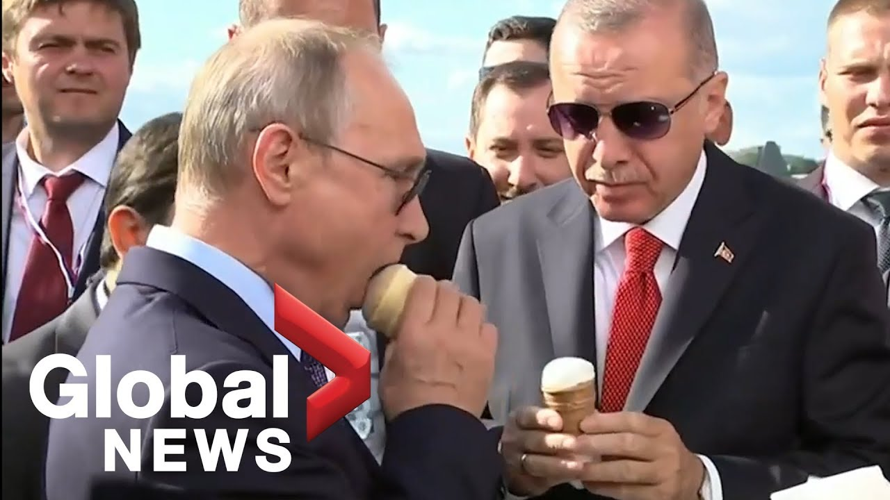 Putin buys Erdogan ice cream, shows off new Su-57 fighter jet during visit  to Russia - YouTube