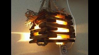 Светильник из дерева своими руками. How to Make Lamp of wood.(Здравствуйте, в этом видео я хотел бы показать, как сделать декоративный бюджетный светильник, люстру или..., 2016-01-12T20:47:45.000Z)