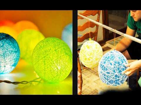 Lamp Lampion from Yarn and Balloon