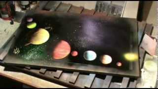 8 Planets Solar System Spray Paint Art Tutorial