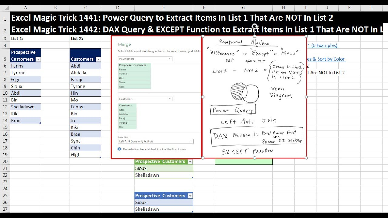 Excel Magic Trick 1441 Power Query to Extract Items In List 1 That Are NOT  In List 2: Left Anti Join