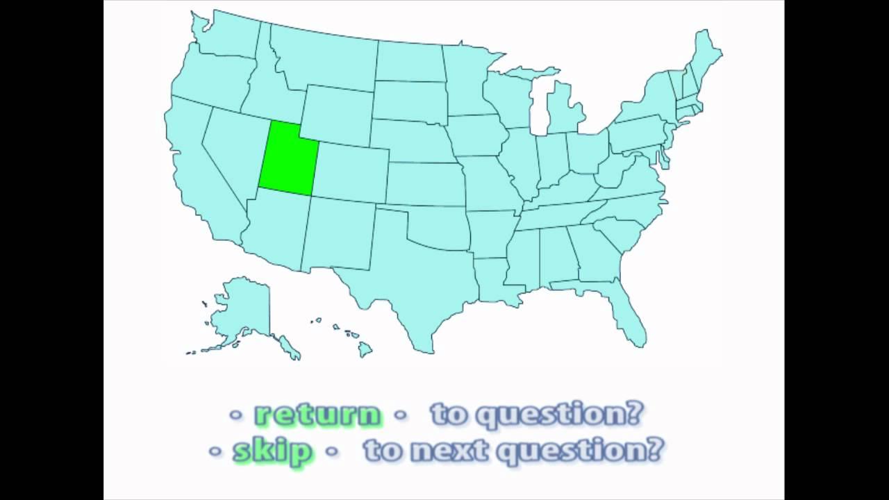 Utah United States Map.Interactive United States Map Quiz Location Of Utah Youtube