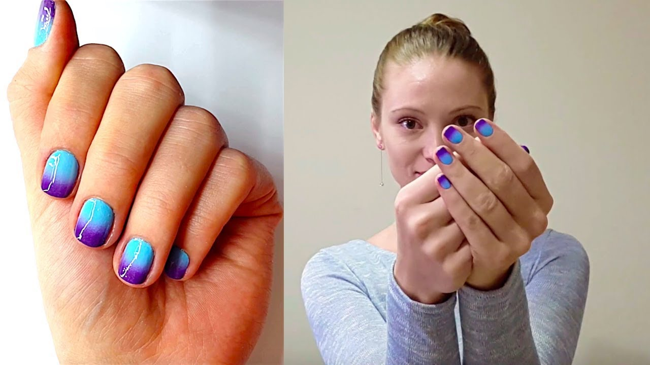 Ombre nails - Blue and Purple