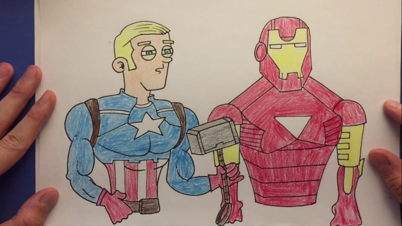 Kaptan Amerika Ve Ironman Boyama Captain America Ironman Coloring