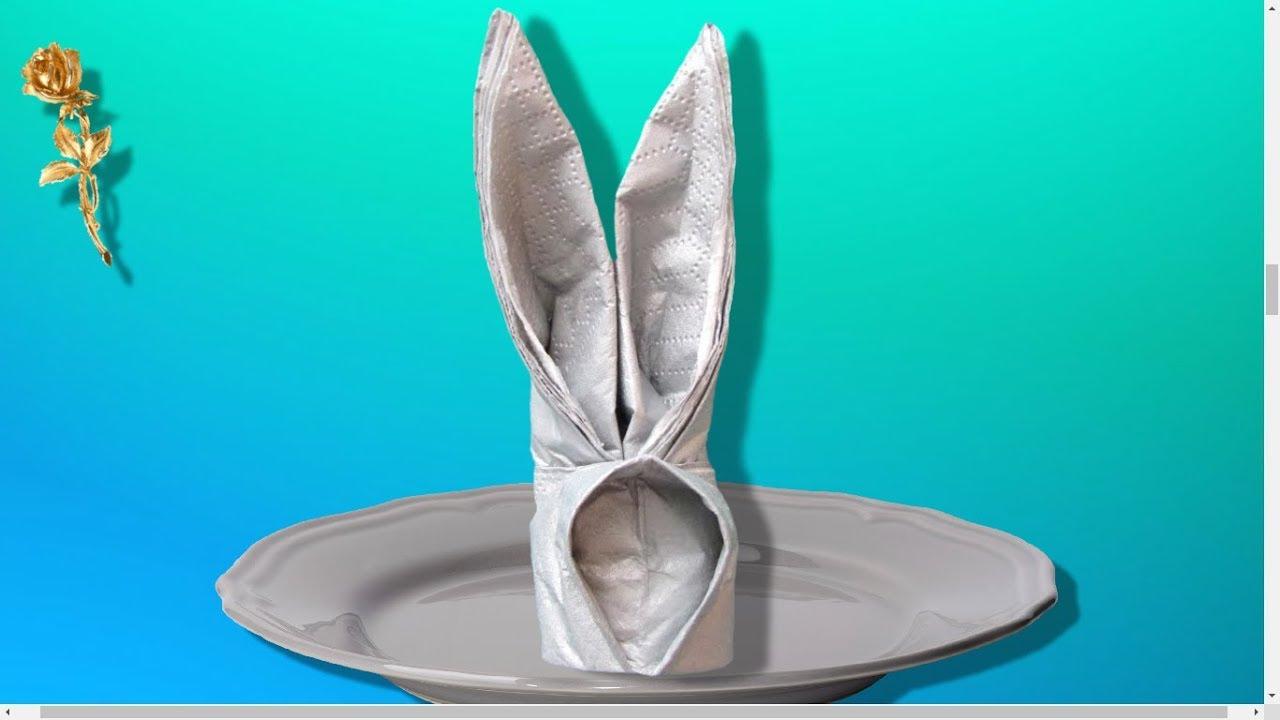 origami facile lapin en serviette youtube. Black Bedroom Furniture Sets. Home Design Ideas
