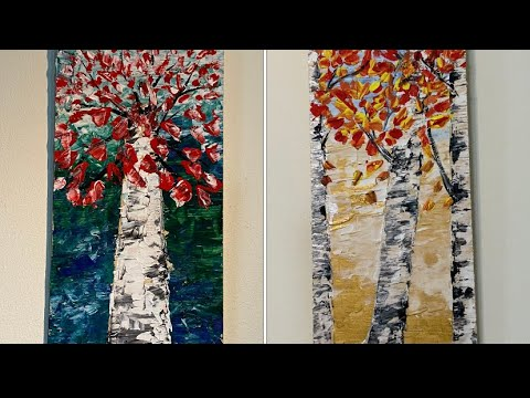 Abstract Painting Tutorial/ Birches Abstract Painting