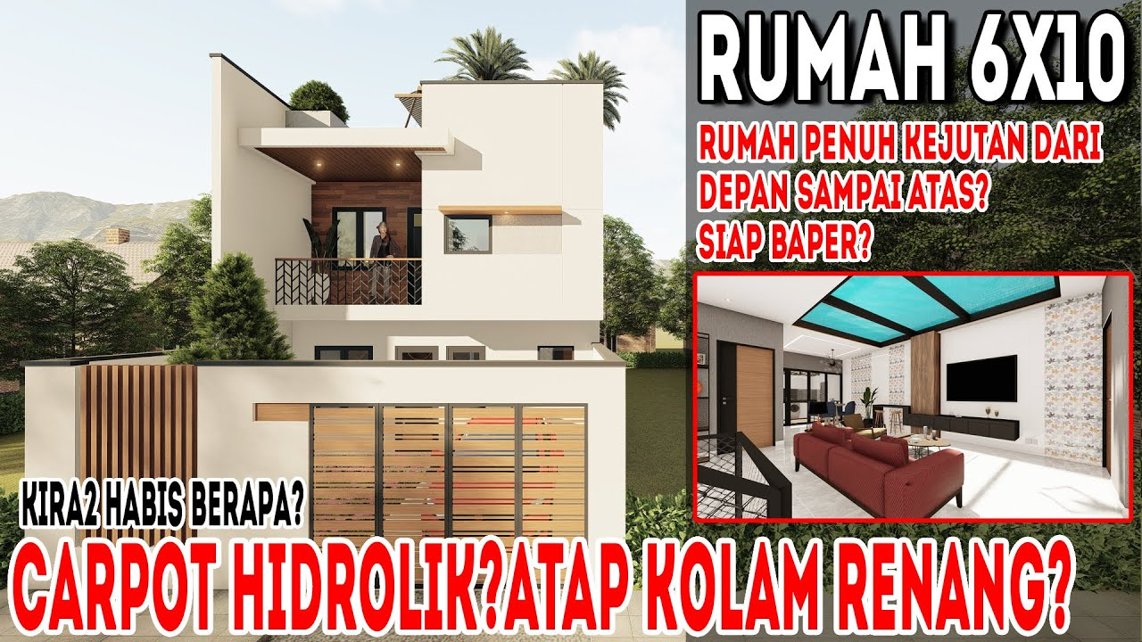 Desain rumah 6x10 di lahan 6x18 dengan 3 kamar tidur