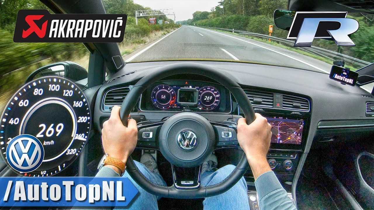 vw golf r 2019 akrapovic autobahn pov top speed 269km h by autotopnl youtube. Black Bedroom Furniture Sets. Home Design Ideas