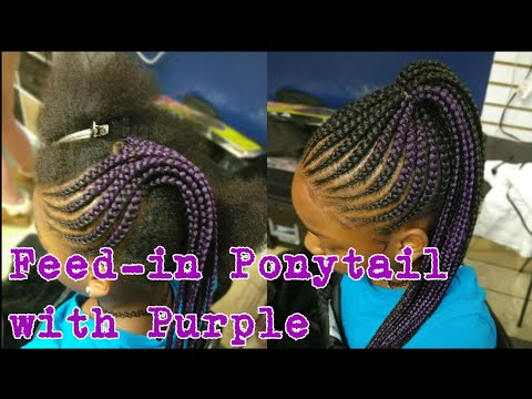 #7. Purple Feed-in Ponytail